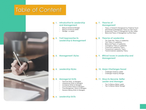 Effective Management Styles For Leaders Table Of Content Formats PDF