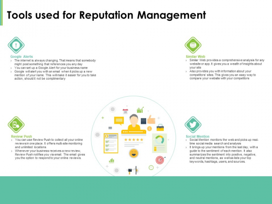 Effective Management Tools Used For Reputation Management Ppt Layouts Designs Download PDF