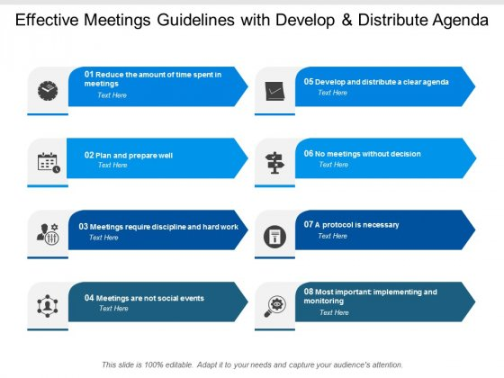 Effective Meetings Guidelines With Develop And Distribute Agenda Ppt PowerPoint Presentation Infographic Template Guidelines