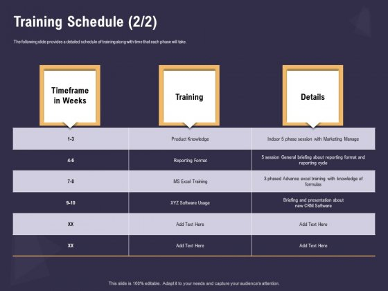 Effective Workforce Management Training Schedule Details Ppt PowerPoint Presentation File Graphics Design PDF