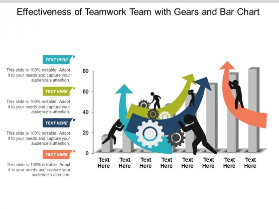 Effectiveness Of Teamwork Team With Gears And Bar Chart Ppt Powerpoint Presentation Ideas Information
