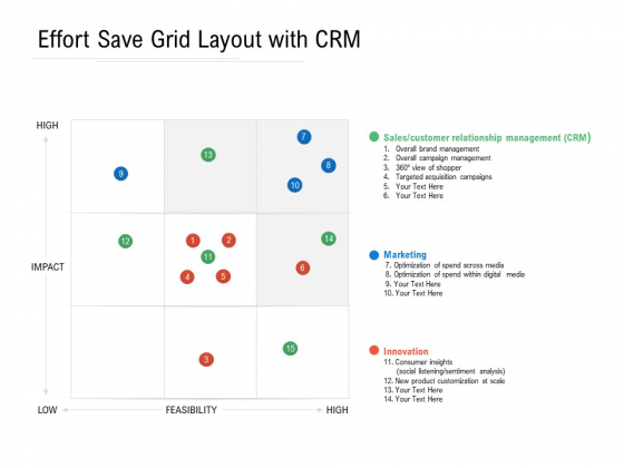 Effort Save Grid Layout With CRM Ppt PowerPoint Presentation File Objects PDF
