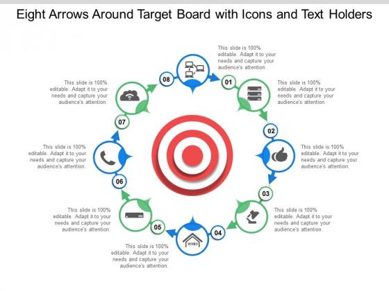 Eight Arrows Around Target Board With Icons And Text Holders Ppt Powerpoint Presentation Slides Graphics Pictures