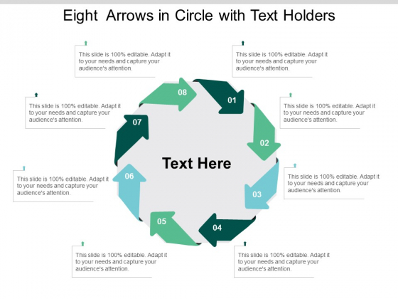 Eight Arrows In Circle With Text Holders Ppt Powerpoint Presentation Outline Maker