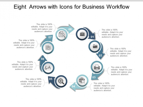 Eight Arrows With Icons For Business Workflow Ppt Powerpoint Presentation Model Show
