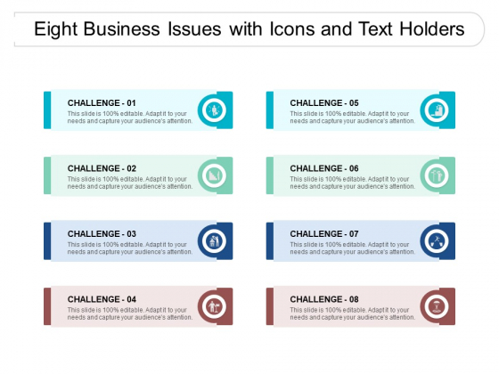 Eight Business Issues With Icons And Text Holders Ppt PowerPoint Presentation Outline Structure