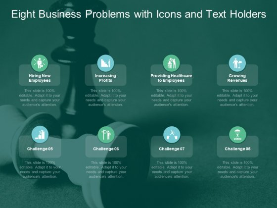 Eight Business Problems With Icons And Text Holders Ppt PowerPoint Presentation Portfolio Display