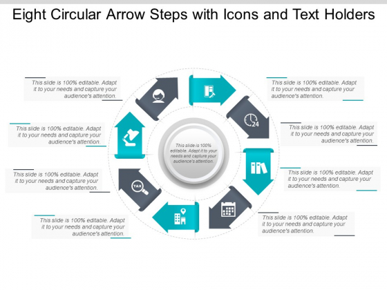 Eight Circular Arrow Steps With Icons And Text Holders Ppt Powerpoint Presentation Outline Gridlines