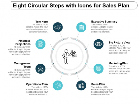 Eight Circular Steps With Icons For Sales Plan Ppt Powerpoint Presentation File Introduction