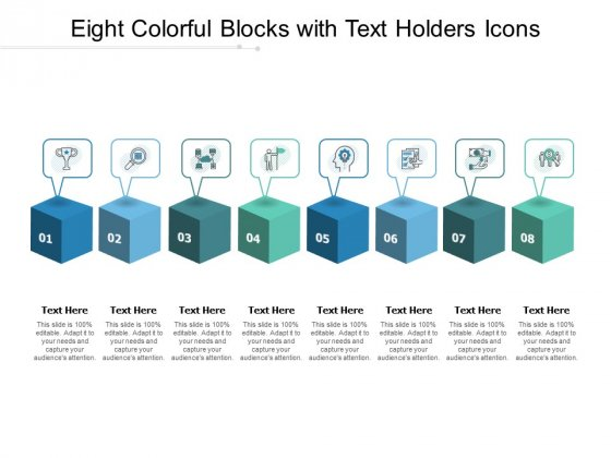 Eight Colorful Blocks With Text Holders Icons Ppt PowerPoint Presentation Inspiration Slideshow