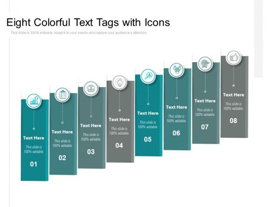 Eight Colorful Text Tags With Icons Ppt PowerPoint Presentation Styles Visuals