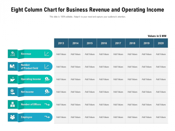 Eight Column Chart For Business Revenue And Operating Income Ppt PowerPoint Presentation Gallery Structure PDF