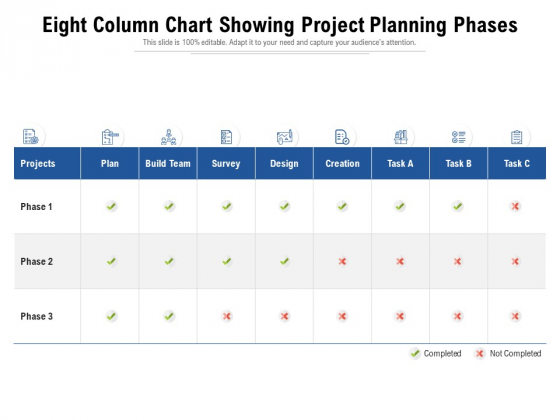Eight Column Chart Showing Project Planning Phases Ppt PowerPoint Presentation Icon Model PDF