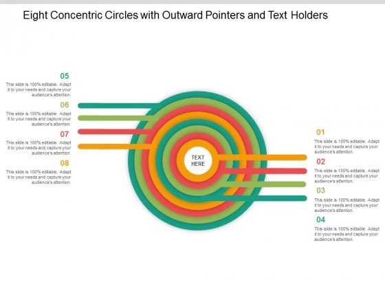 Eight Concentric Circles With Outward Pointers And Text Holders Ppt Powerpoint Presentation File Clipart
