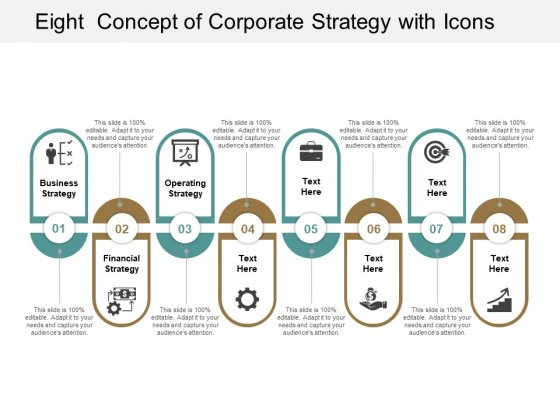 Eight Concept Of Corporate Strategy With Icons Ppt Powerpoint Presentation Ideas Designs Download