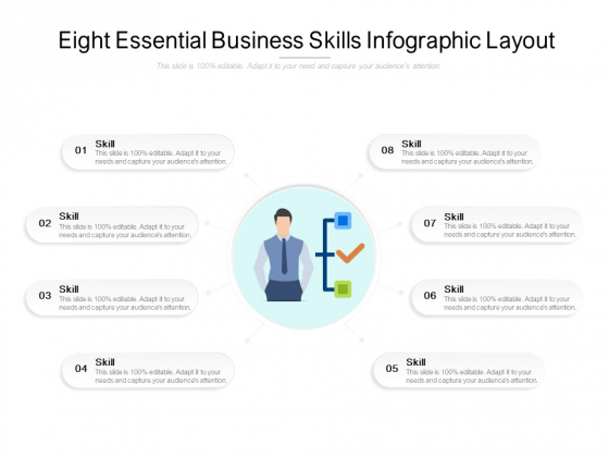 Eight Essential Business Skills Infographic Layout Ppt PowerPoint Presentation Model Graphics Design