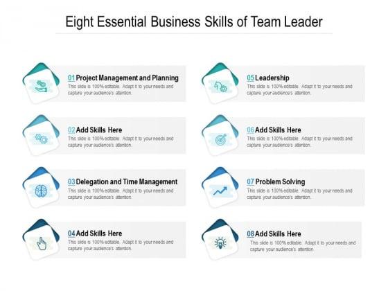 Eight Essential Business Skills Of Team Leader Ppt PowerPoint Presentation Portfolio Professional