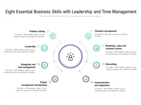 Eight Essential Business Skills With Leadership And Time Management Ppt PowerPoint Presentation Infographic Template Files