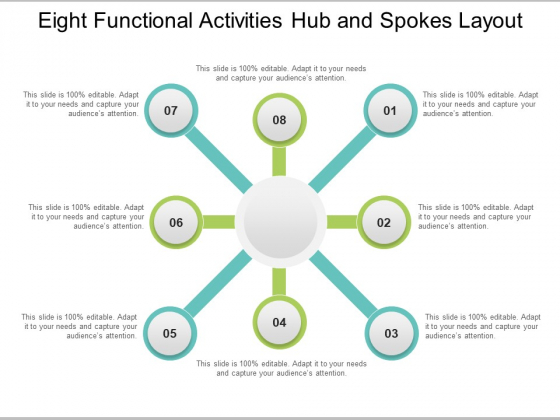 Eight Functional Activities Hub And Spokes Layout Ppt PowerPoint Presentation Professional Examples
