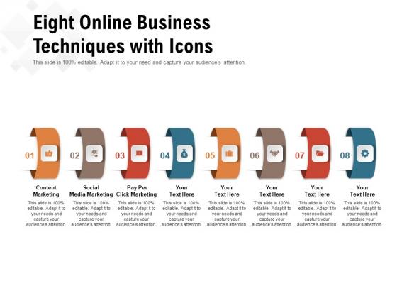Eight Online Business Techniques With Icons Ppt PowerPoint Presentation Slides Portrait PDF