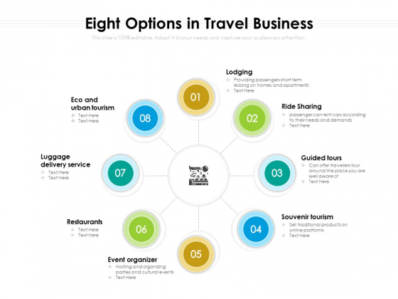 Eight Options In Travel Business Ppt PowerPoint Presentation Gallery Picture PDF