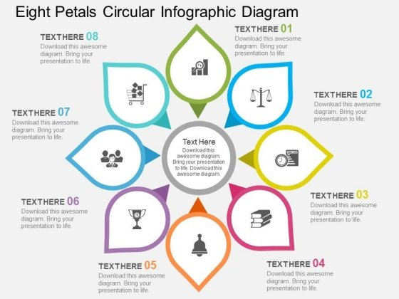 Eight Petals Circular Infographic Diagram Powerpoint Template