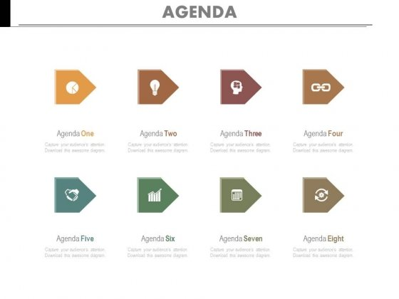 Eight Points Marketing Agenda Diagram Powerpoint Slides
