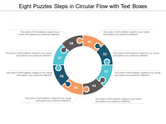 Eight Puzzles Steps In Circular Flow With Text Boxes Ppt Powerpoint Presentation Icon Templates