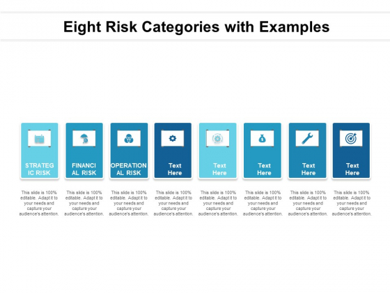 Eight Risk Categories With Examples Ppt PowerPoint Presentation Portfolio Skills PDF
