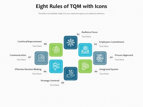 Eight Rules Of TQM With Icons Ppt PowerPoint Presentation Gallery Format Ideas PDF