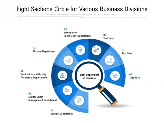 Eight Sections Circle For Various Business Divisions Ppt PowerPoint Presentation Gallery Ideas PDF