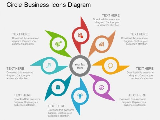 Eight Staged Circle Business Icons Diagram Powerpoint Template