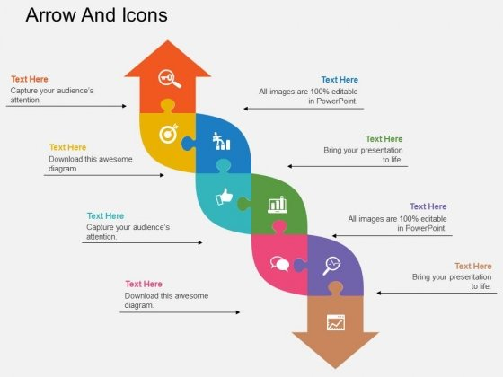 Eight Staged Infographics Arrow And Icons Powerpoint Template