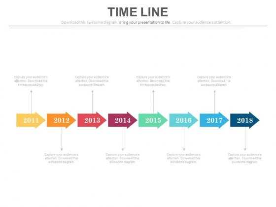 Eight Staged Linear Timeline With Years Powerpoint Slides