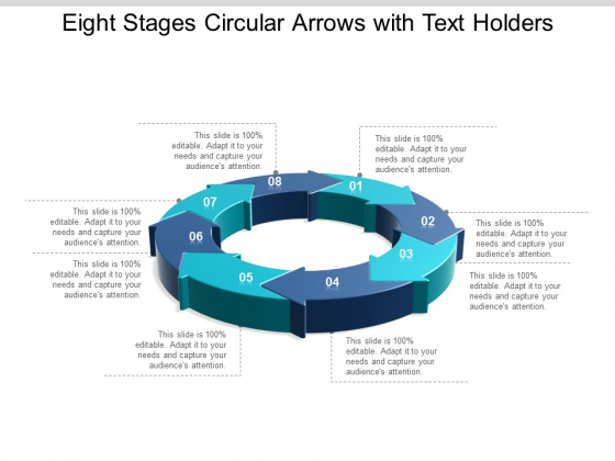 Eight Stages Circular Arrows With Text Holders Ppt Powerpoint Presentation Layouts Graphics