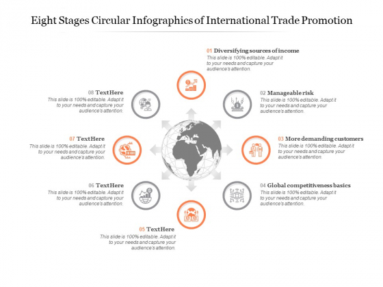 Eight Stages Circular Infographics Of International Trade Promotion Ppt PowerPoint Presentation Icon Images