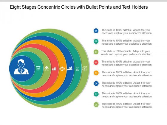 Eight Stages Concentric Circles With Bullet Points And Text Holders Ppt Powerpoint Presentation Model Slideshow