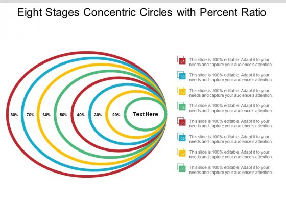 Eight Stages Concentric Circles With Percent Ratio Ppt Powerpoint Presentation Layouts Good