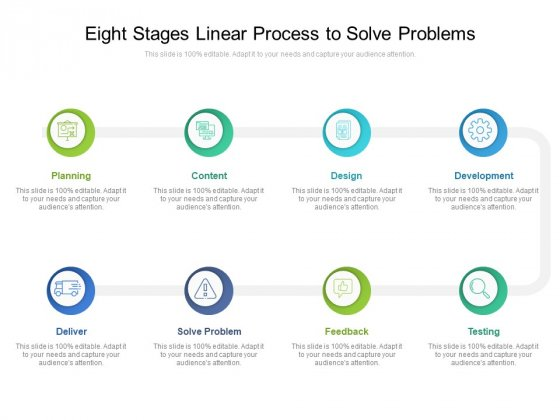 Eight Stages Linear Process To Solve Problems Ppt PowerPoint Presentation Gallery Format PDF