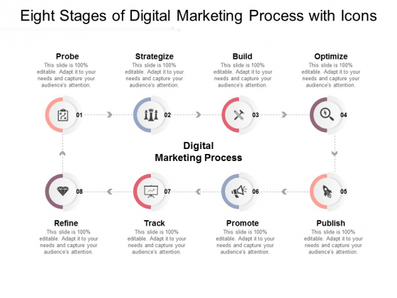 Eight Stages Of Digital Marketing Process With Icons Ppt PowerPoint Presentation Show