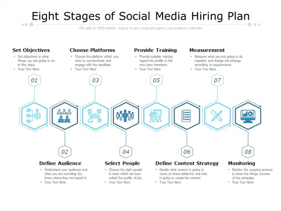 Eight Stages Of Social Media Hiring Plan Ppt PowerPoint Presentation Ideas Demonstration