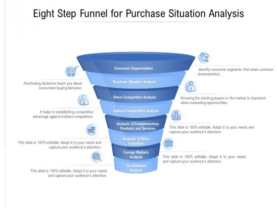 Eight Step Funnel For Purchase Situation Analysis Ppt PowerPoint Presentation Infographics Example Topics PDF