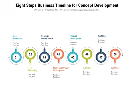 Eight Steps Business Timeline For Concept Development Ppt PowerPoint Presentation Gallery Influencers PDF