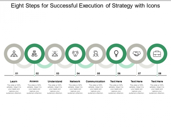 Eight Steps For Successful Execution Of Strategy With Icons Ppt Powerpoint Presentation Model Inspiration