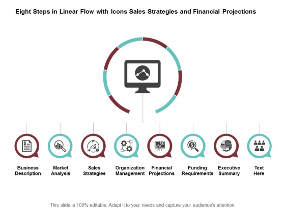 Eight Steps In Linear Flow With Icons Sales Strategies And Financial Projections Ppt Powerpoint Presentation Ideas