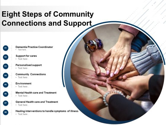 Eight Steps Of Community Connections And Support Ppt PowerPoint Presentation Inspiration Shapes PDF