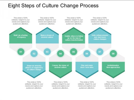 Eight Steps Of Culture Change Process Ppt PowerPoint Presentation File Layout Ideas