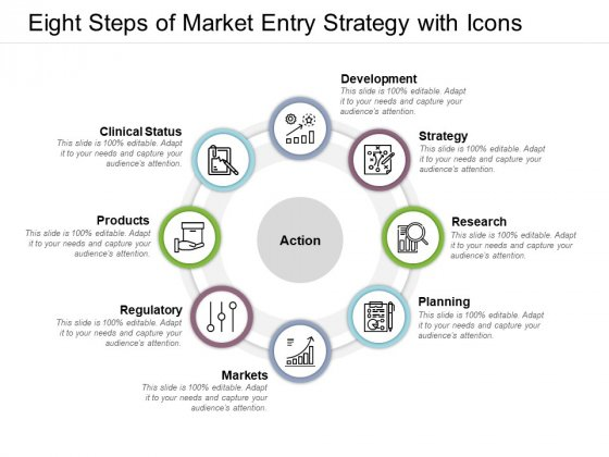 Eight Steps Of Market Entry Strategy With Icons Ppt PowerPoint Presentation Outline Influencers