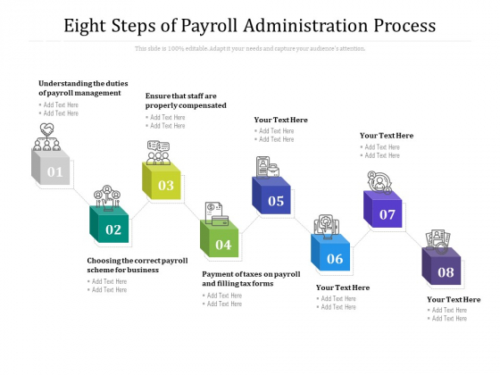 Eight Steps Of Payroll Administration Process Ppt PowerPoint Presentation Inspiration PDF