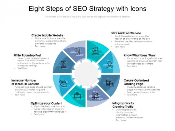 Eight Steps Of SEO Strategy With Icons Ppt PowerPoint Presentation Inspiration Microsoft